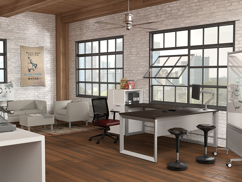 Pivit Open Frame Desking (Cafe) | Derby Task Seating | Zoey Lounge Collection | Pogo Stool