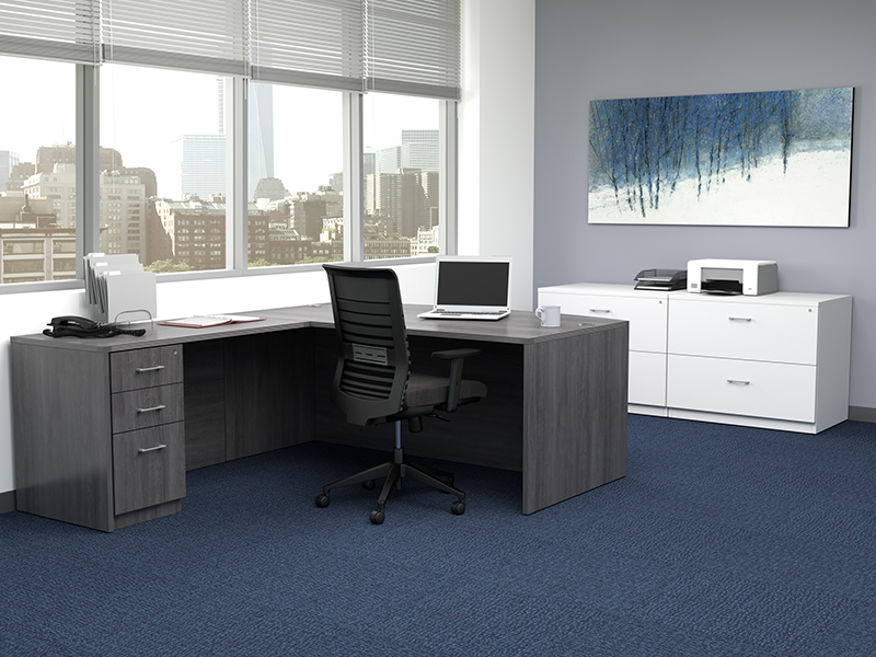 Pivit Full Panel Desk (Grey Ash) | Lucky Task Seating (Flexi Graphite)