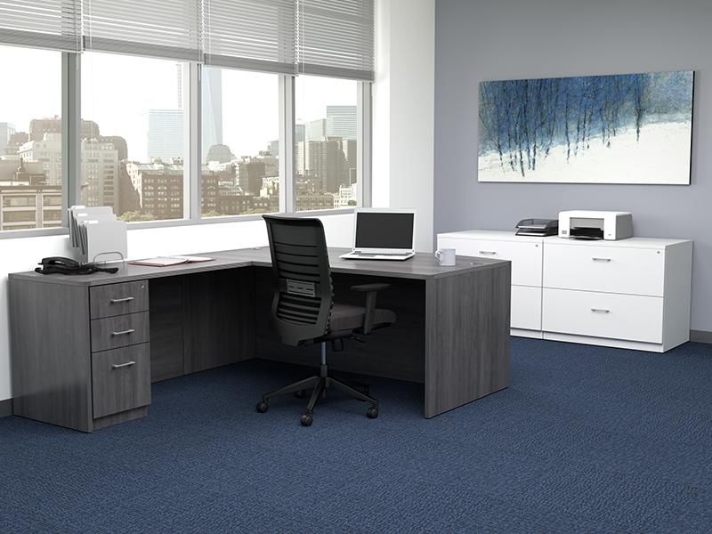 Pivit Full Panel Desking (Grey Ash) | Lucky Task Seating (Flexi Graphite)