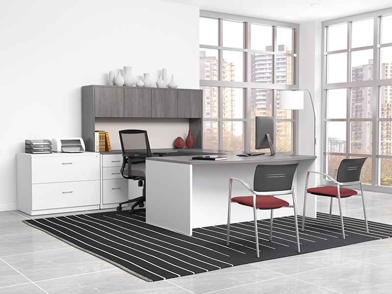 Pivit Full Panel Desking (Grey Ash/Basic White) | Derby Task Seating (Flexi Alloy) | Octiv Guest Chairs (Flexi Red)