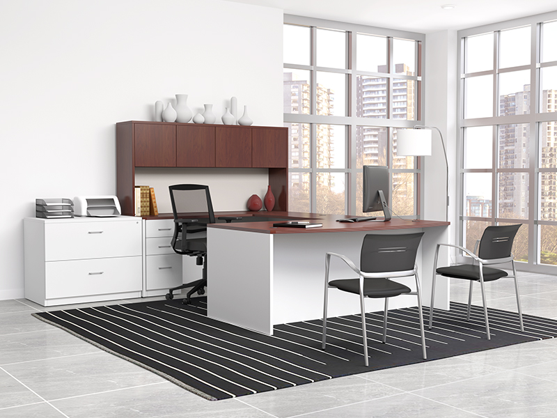 Pivit Full Panel Desking (American Cherry/Basic White) | Derby Task Seating (Flexi Graphite) | Octiv Guest Chairs (Jet Faux Leather)