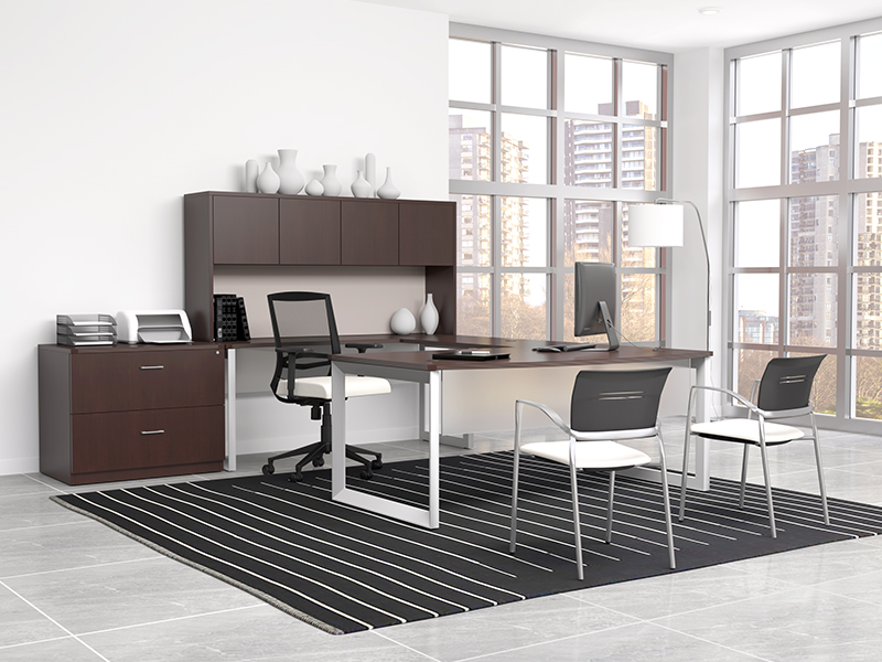 Pivit Open Frame Desking (Cafe) | Derby Task Seating (Frost Faux Leather) | Octiv Guest Chairs (Frost Faux Leather)