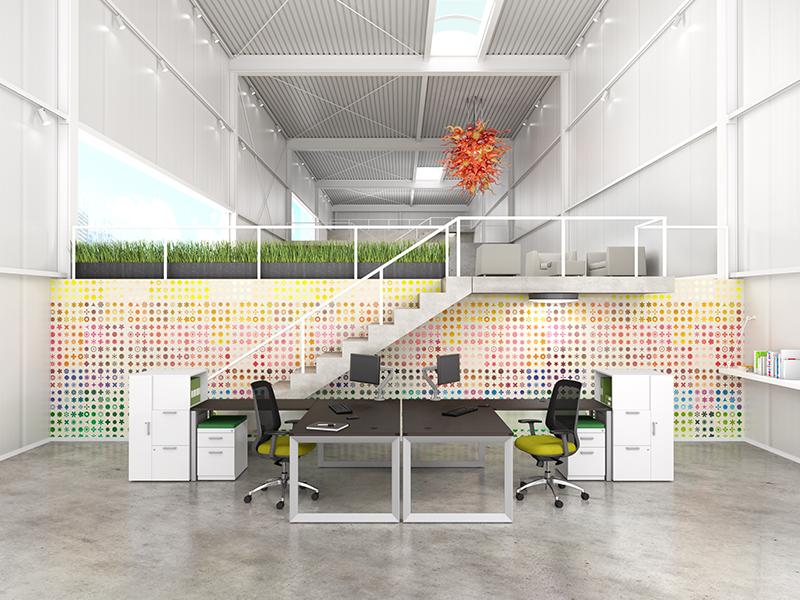 Pivit Open Frame Desking (Cafe) | Ceptor Task Seating (Flexi Green)