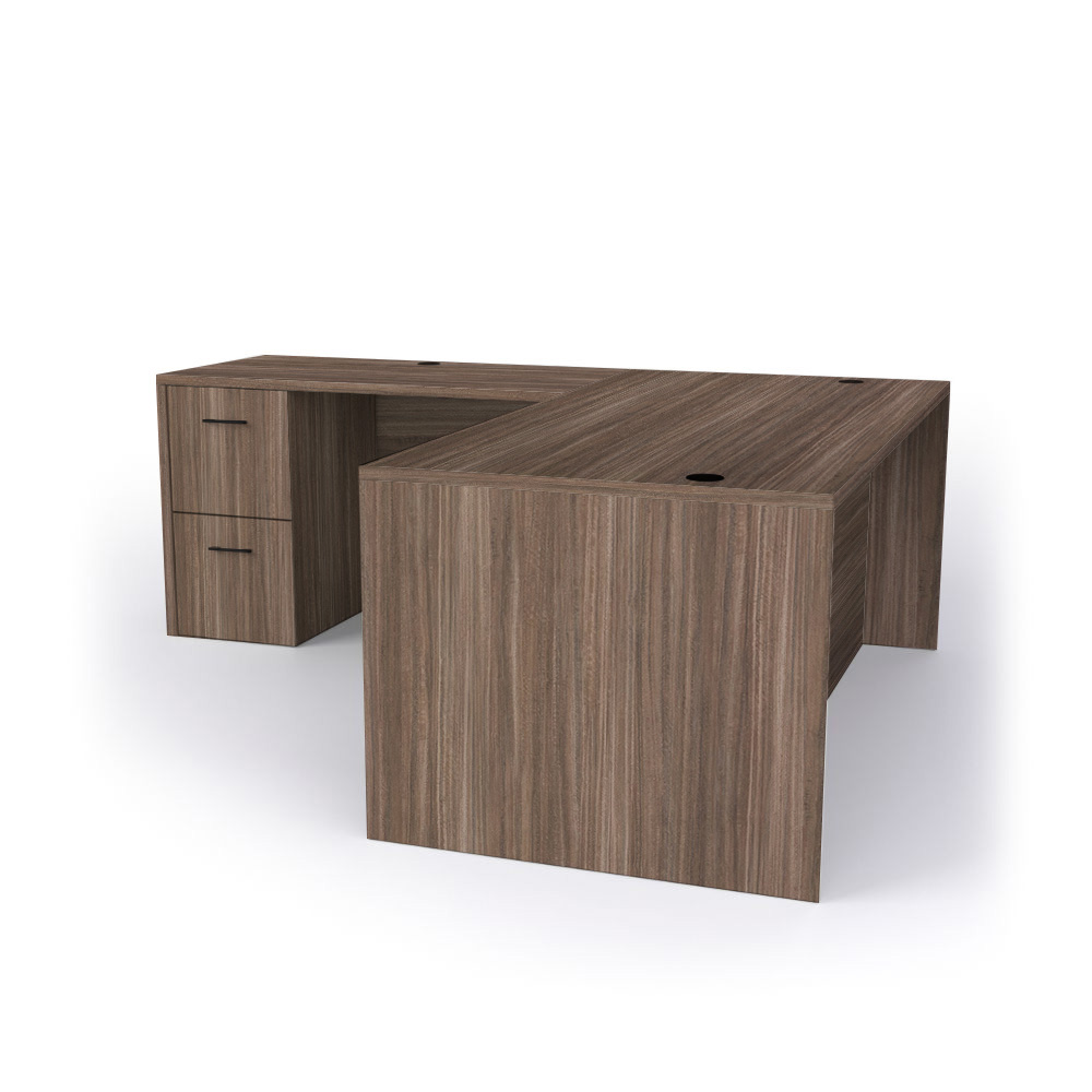 Forge Full Panel L-shaped Desk in Layered Walnut