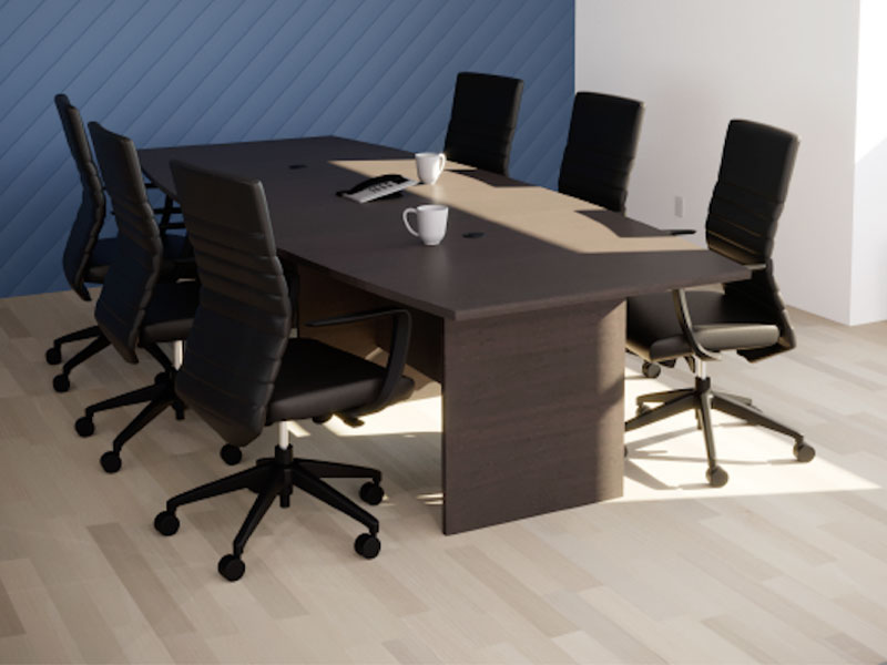 Pivit Conference Table in Café  |  Maxim LT Conference Chairs (Jet)