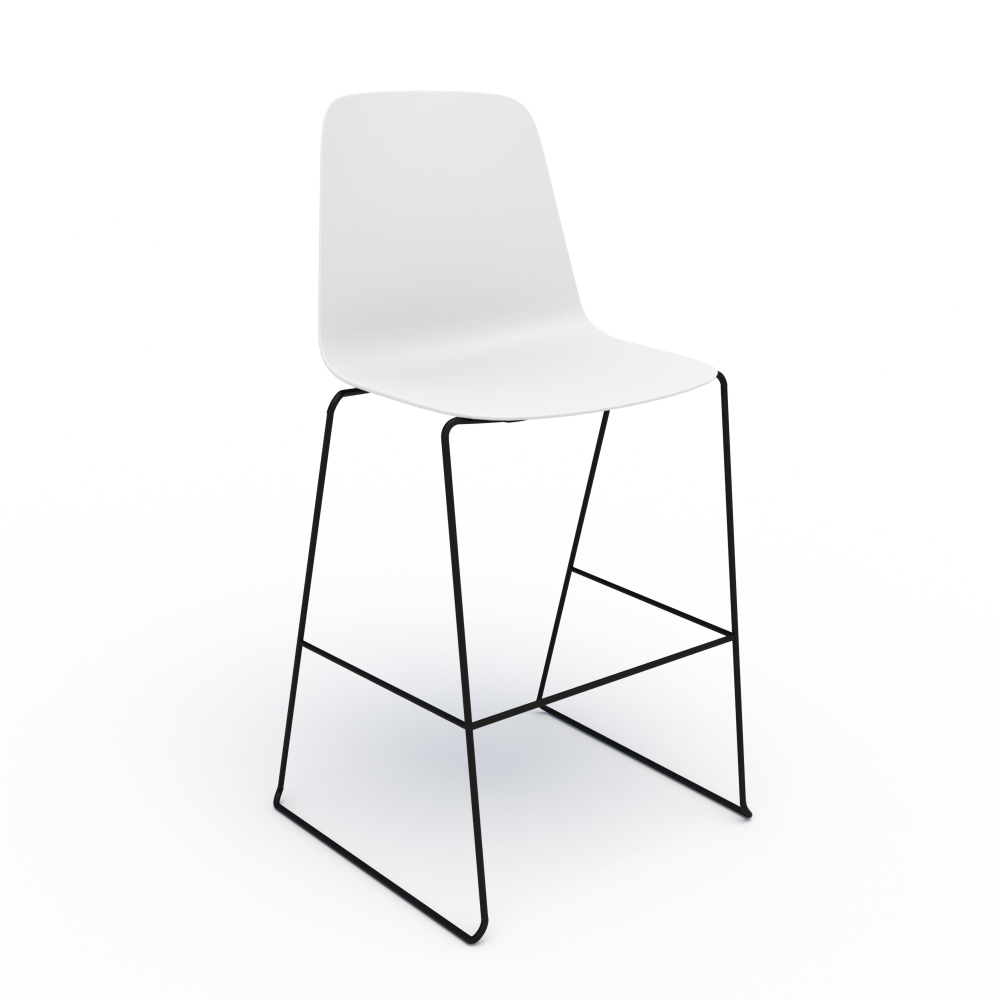 Sofie in White with Black Stool Base