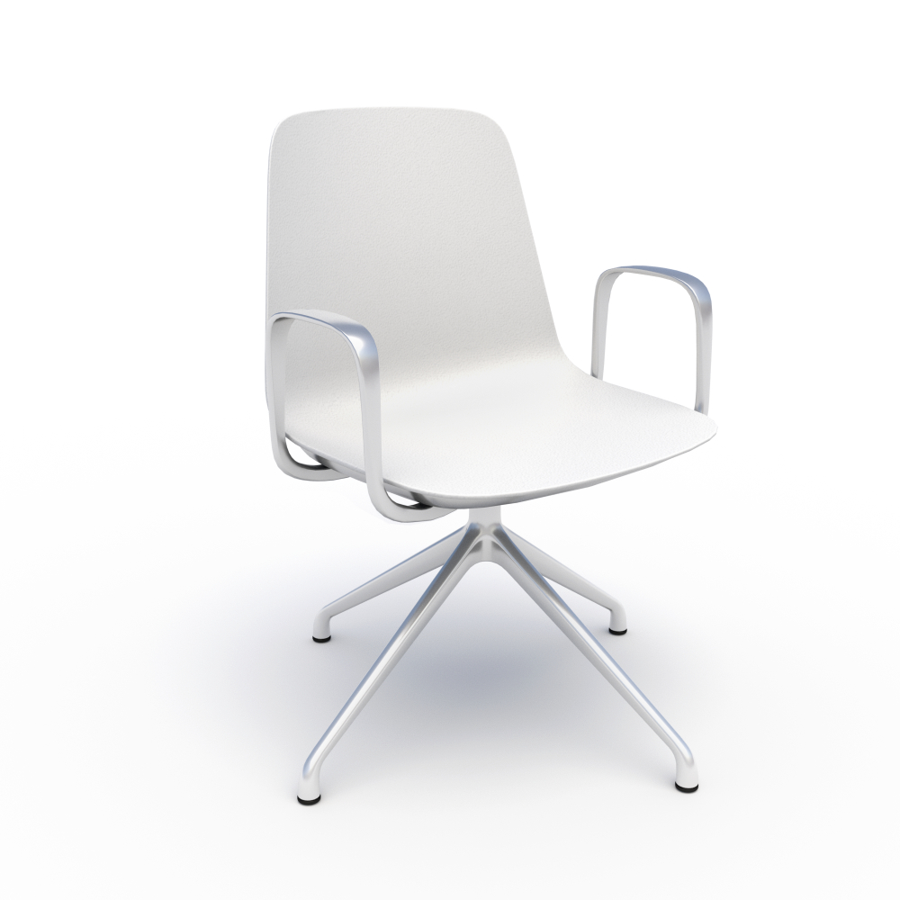 Sofie in White with Chrome 4-Star Base & Loop Arms
