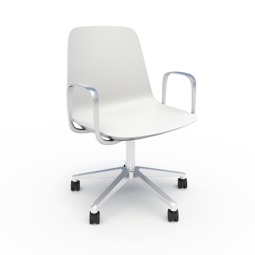 Sofie in White with Chrome 5-Star Base & Loop Arms