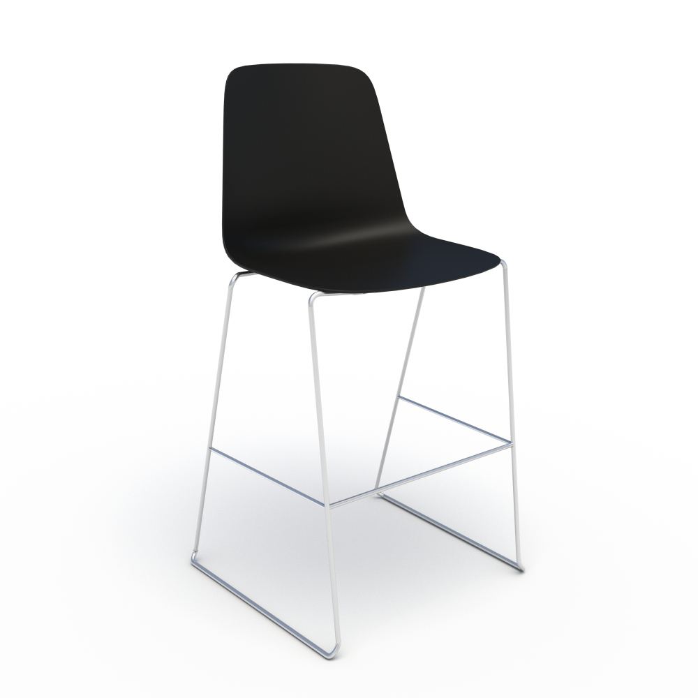 Sofie in Black with Chrome Stool Base