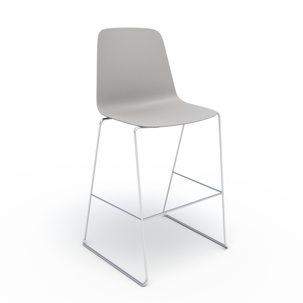 Sofie in Grey with Chrome Stool Base
