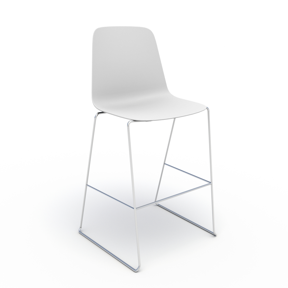 Sofie in White with Chrome Stool Base