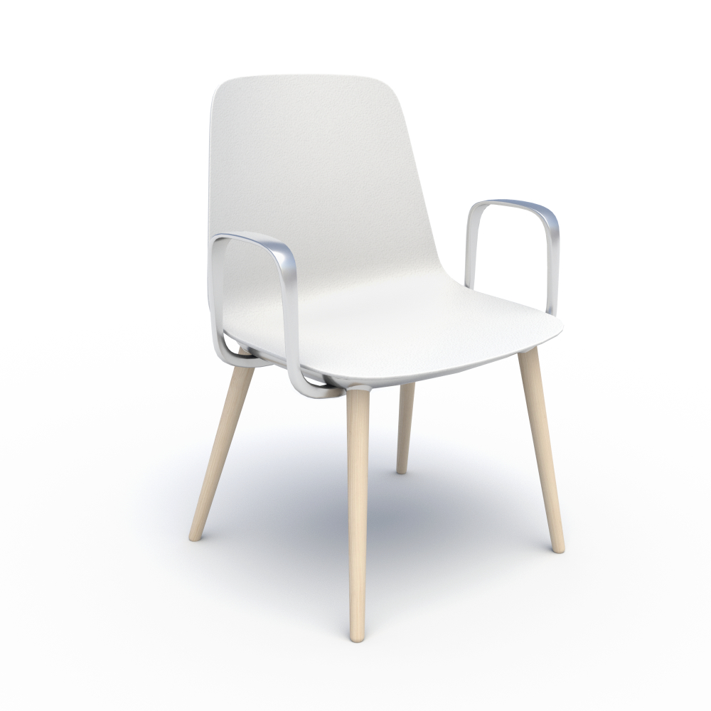 Sofie in White with Wood Legs & Chrome Arms