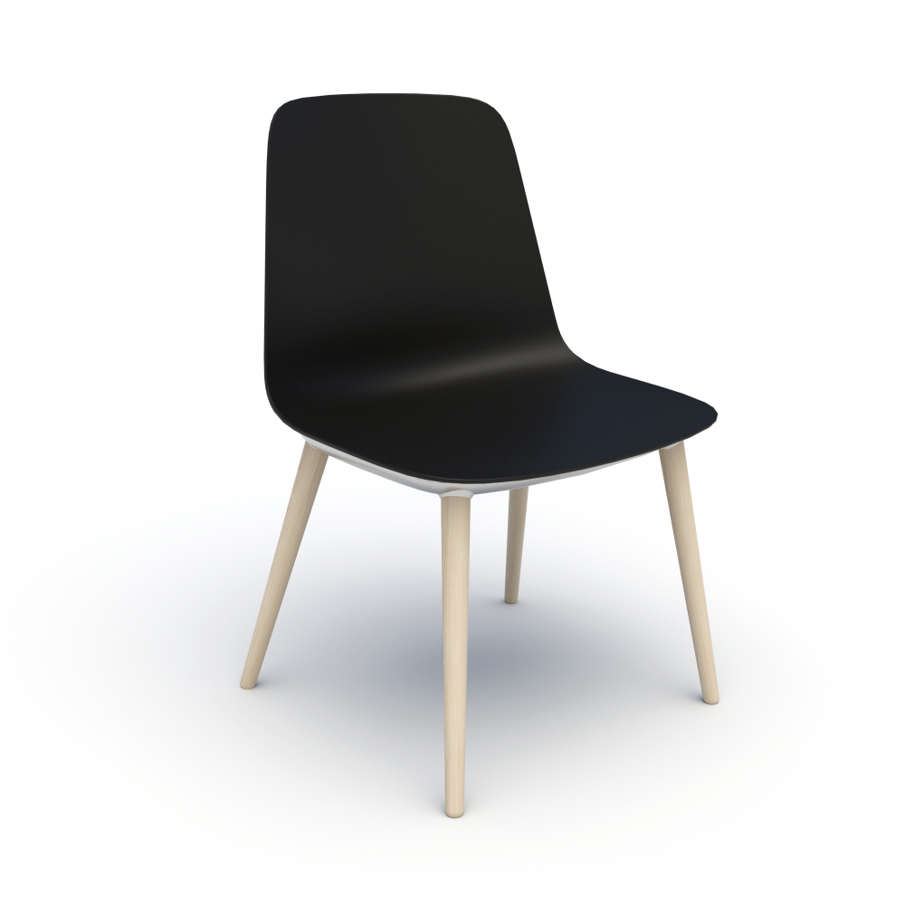 Sofie in Black with Wood Legs