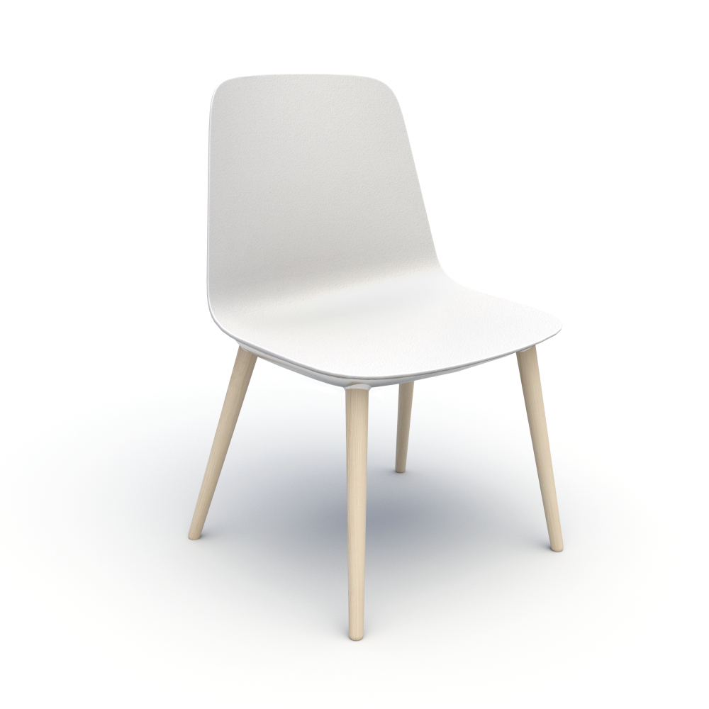Sofie in White with Wood Legs