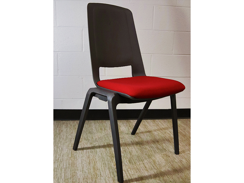 FIla Stack Chair (Charcoal Frame/Flexi Red Cushion)