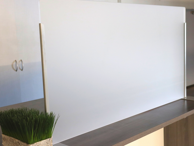 Transaction Top Brackets in Silver with Frosted Acrylic Screen