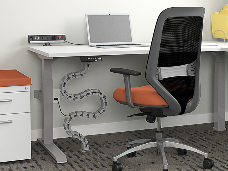 Vertebrae Wire Management | HiLo Height Adjustable Table | Ceptor Task Seating (Flexi Orange)