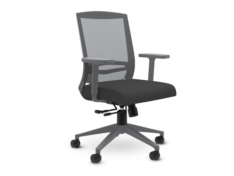 Derby Task Chair in Grey Frame with Dark Grey Mesh Back and Dark Grey Seat Upholstery