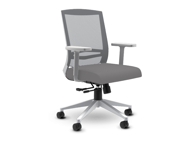 Derby Task Chair in White Frame with Medium Grey Mesh Back and Medium Grey Seat Upholstery